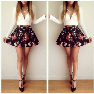 blouse top skirt shoes necklace
