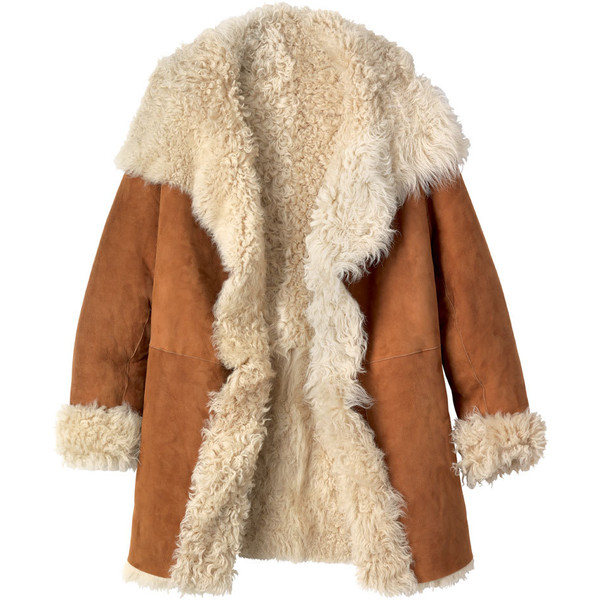 SHEARLING WRAP JACKET - Toast - Polyvore