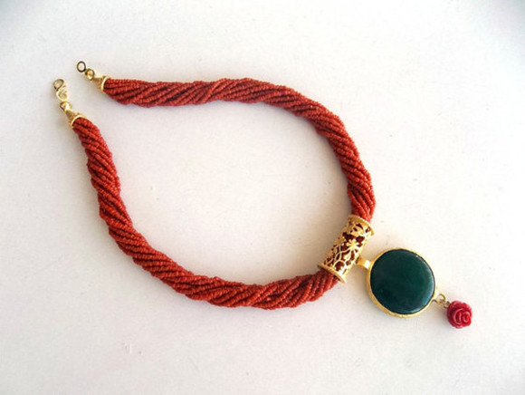 jewels necklace jewelry jewelery red coralnecklace green agate womenfashion