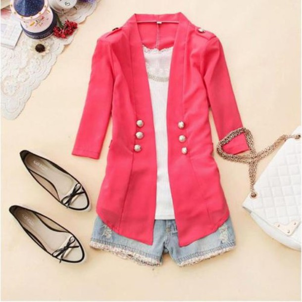 Jacket: blazer, pink, military style, buttons, cardigan - Wheretoget