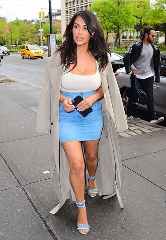 skirt top coat sandals sandal heels kim kardashian kardashians mini skirt denim skirt shoes