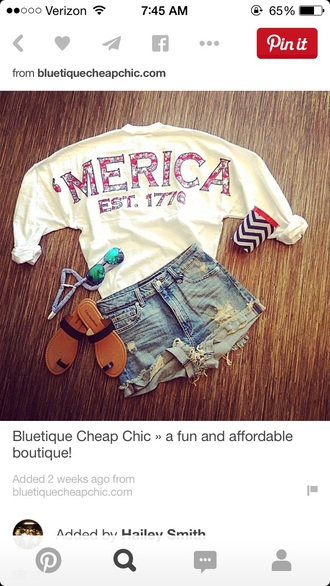 shirt america summer red white blue sweatshirt top 'merica usa patriotic