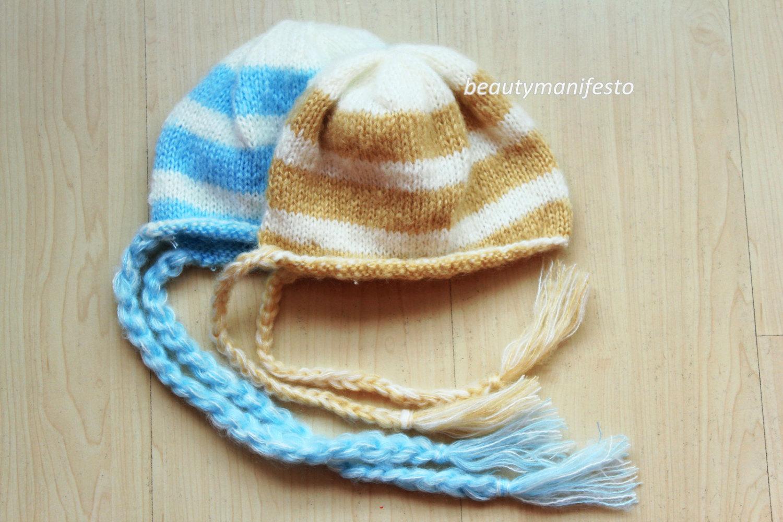 Knit baby hat Mohair bonnet Newborn bonnet Simple knit baby hat Classic  bonnet Stripped bonnet Photography ... 47f8adc3974