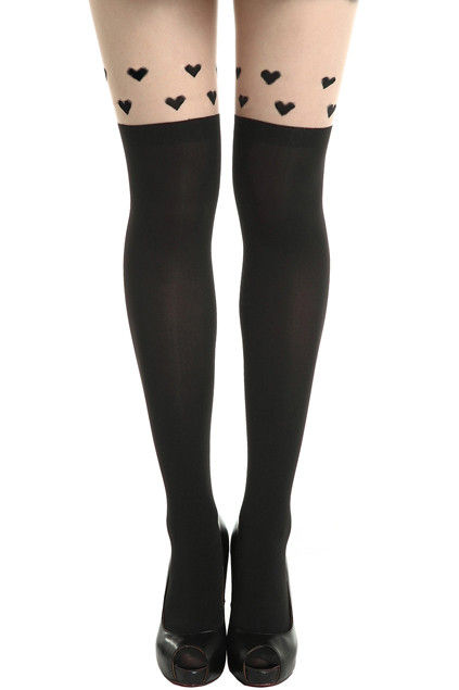 HEARTS TATTOO PATTERN TIGHTS  - Rings & Tings | Online fashion store | Shop the latest trends