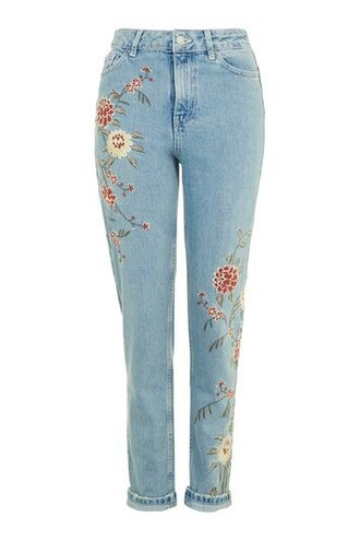 jeans mom jeans embroidered floral blue