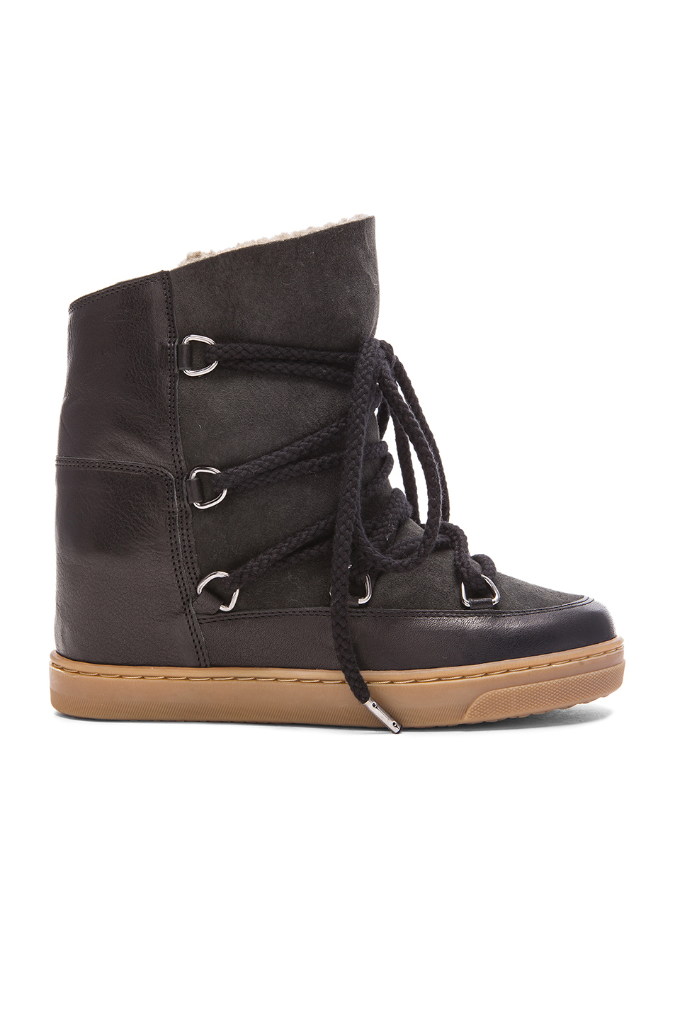isabel marant etoile nowles shearling and leather boots in black fwrd. Black Bedroom Furniture Sets. Home Design Ideas