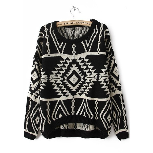 Black Long Sleeve Geometric Pullovers Sweater - Polyvore