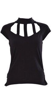 shirt,women sleeveless back & front cage cut out polo neck top  black