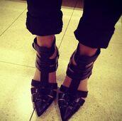 shoes,black high heels,high heels,strap heels,ankle strap heels,strappy sandals,strappy black heels,high heel sandals,black,black cutout