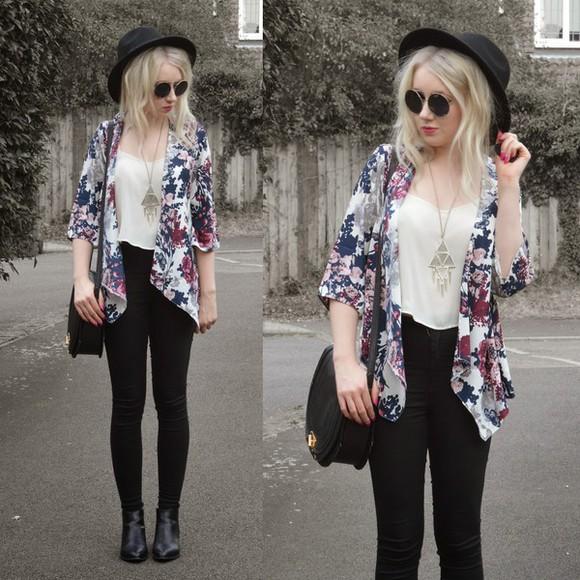 sunglasses round sunglasses jewels sammi jackson blogger jacket jeans bag black jeans roses triangle felt hat