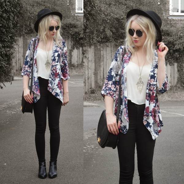 sammi jackson blogger sunglasses jewels jacket jeans bag black jeans roses triangle felt hat round sunglasses