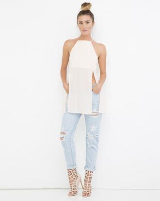 shirt top halter top white white top white halter top sheer sheer top