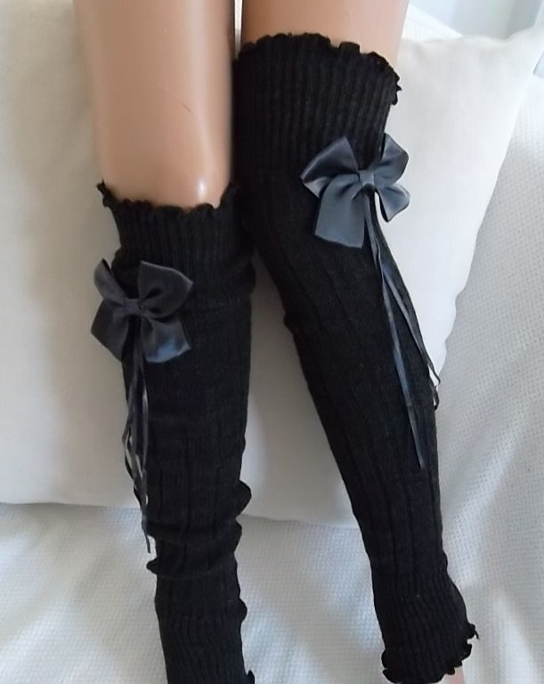 Dark Grey and Gray Ribbon Bow Leg Warmers Boot Socks Machine Knit Women's Socks Winter Socks Valentines Day gifts by carnavalboutique