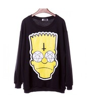 sweater,cross,bart simpson,halloween,alternative,satan,punk,pullover,the simpsons,cartoon,black,black sweater,yellow,it girl shop,swag,cool,long sleeves,sweatshirt,grunge,hippie,tumblr,grey,hipster,style