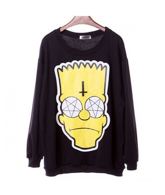 sweater cross bart simpson halloween alternative satan punk pullover the simpsons cartoon black black sweater yellow it girl shop swag