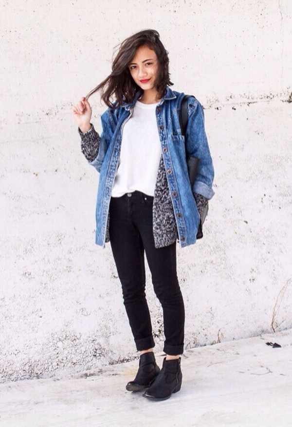 jacket black ankle boots black pants denim jeans oversized denim jacket oversized vintage levi's comfy casual jeans