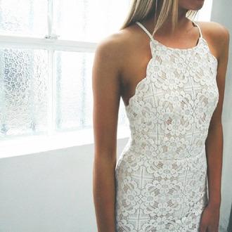 dress white lace bodycon pattern cute summer formal bodycon dress