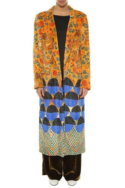 dries van noten coat velvet multicolor