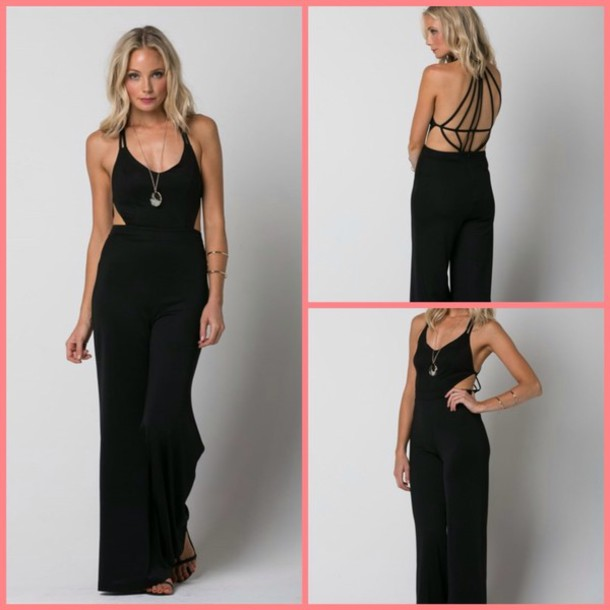 Jumpsuit: black, summer, sexy, jumper, date outfit, girly, funny ...