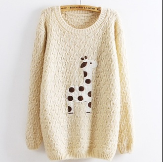 sweater giraffe beige sweater