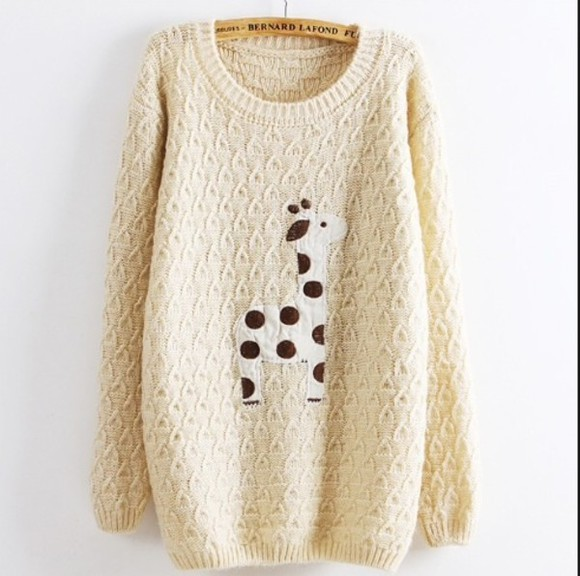 sweater beige sweater giraffe