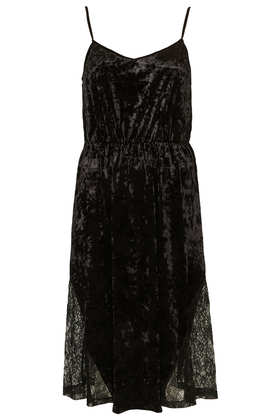 Velvet Lace Midi Slip Dress - Dresses  - Clothing  - Topshop