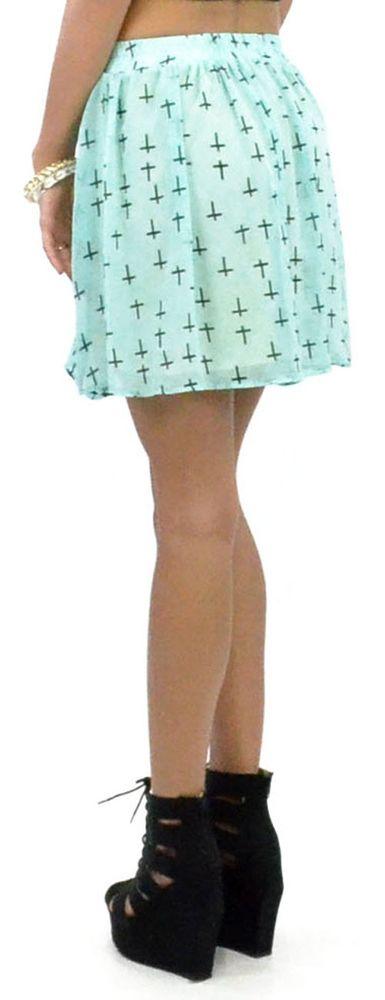 Pretty mint teal flowy cross skirt stretch waistband lined usa made top fashion