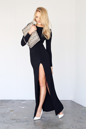 cheyenne meets chanel,dress,shoes,bag,jewels,t-shirt,skirt,long sleeve maxi dress,heels,pumps,black dress,black,slit dress,sexy,sexy party dresses,sexy dress,black sexy dress,thigh high slit