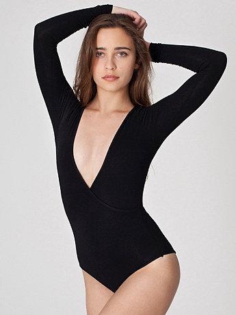 Cotton Spandex Jersey Cross-V Bodysuit   American Apparel