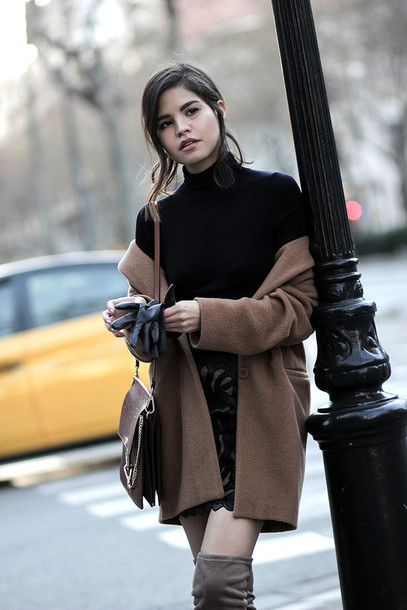 Top: tumblr, black top, turtleneck, black turtleneck top, coat ...