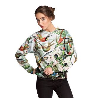 sweater sweatshirt printed sweater hummingbird colibri floral jungle bird print green sweater green fusion birds floral sweater floral sweatshirt flowers jungle print jumper pullover floral print sweatshirt jungle print sweater streetwear women trendsetters