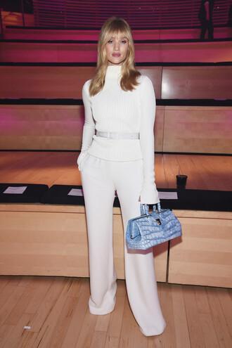 sweater turtleneck pants purse rosie huntington-whiteley model off-duty ny fashion week 2018 fashion week 2018