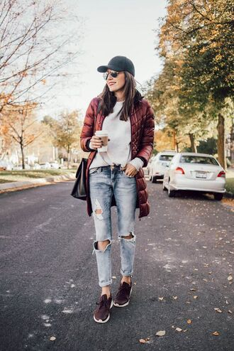 hat black cap white shirt ripped jeans burgundy sneakers blogger red jacket sunglasses