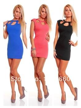 New Fashion Trendy Dress Girl Sexy Sleeveless Dress Sheath Clubwear Mini Dress Black Red Blue   Amazing Shoes UK