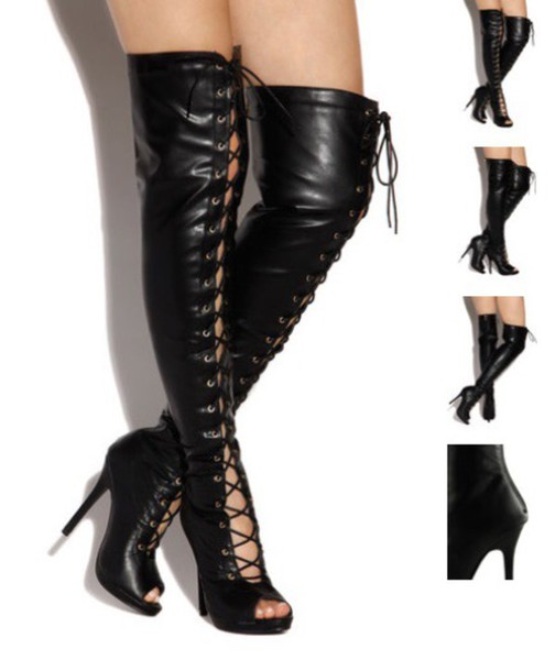 black leather thigh high heel boots | Gommap Blog