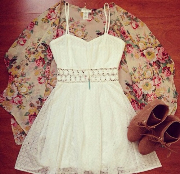 dress summer dress flowy white dress pretty lace