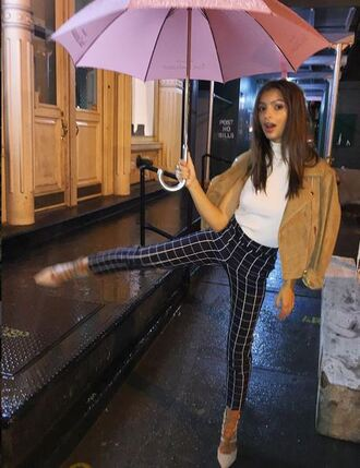fashion week emily ratajkowski shoes blue pants checkered white top suede jacket jeans