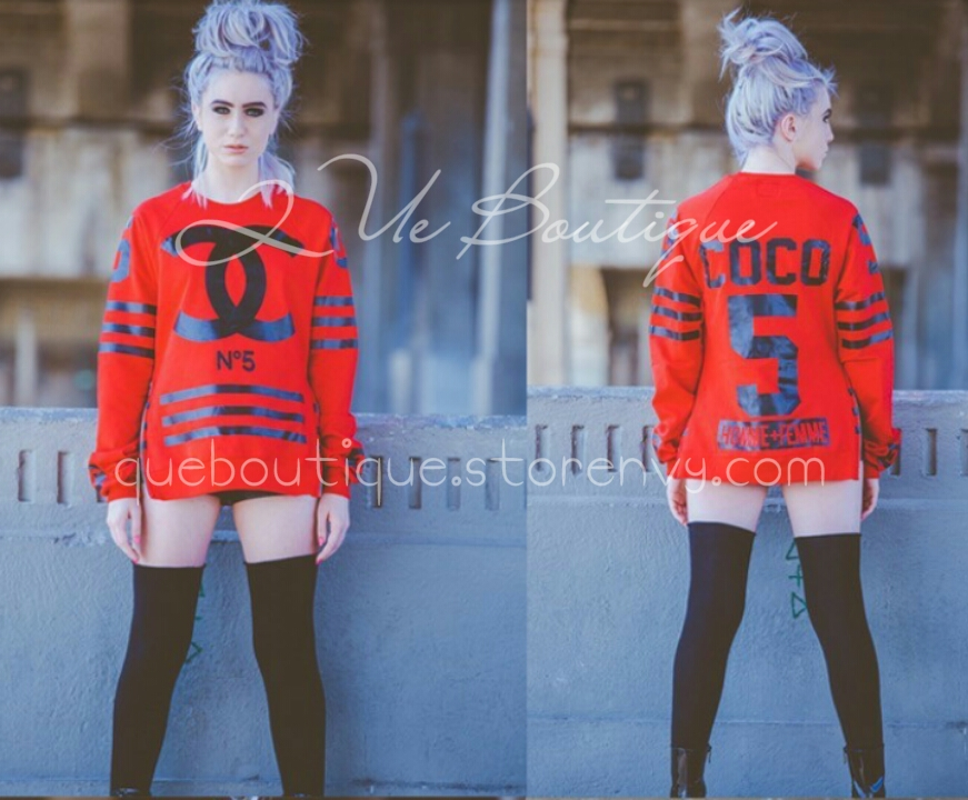 """cc sweater "" unisex * coco * chanel * pullover * fleece * red"