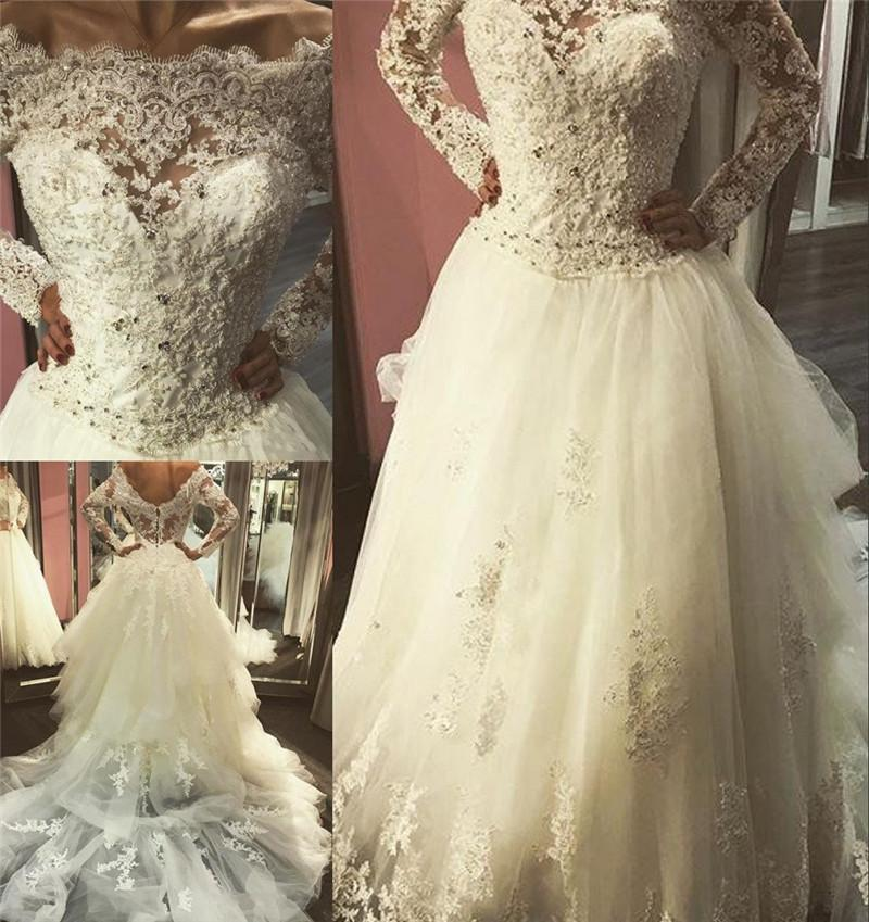 Long Sleeves Lace A Line Wedding Dresses Discount Vintage Lace ...