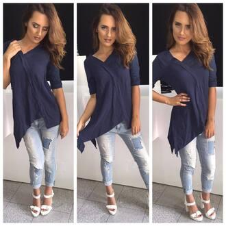 shirt blue blue shirt asymmetrical asymetric top short sleeve v neck