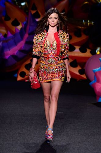 dress mini dress miranda kerr model runway colorful bustier bustier dress summer jacket crop cropped jacket purse pumps moschino