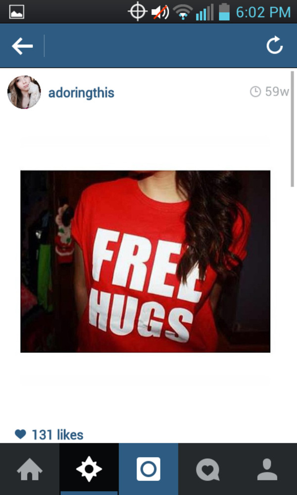 shirt free hugs red blue curly hair jeans pants shirt