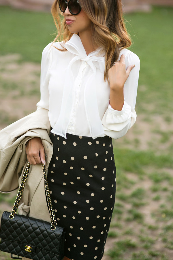 lace and locks blogger blouse classy white blouse pencil skirt polka dots chanel bag chain bag