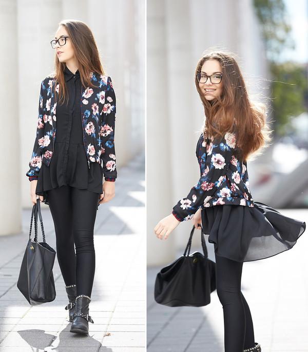 jacket romwe black floral print