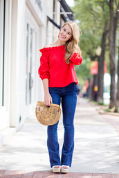 a lonestar state of southern,blogger,top,blouse,jeans,jewels,bag,shoes,red top,wedges,cult gaia bag,fall outfits