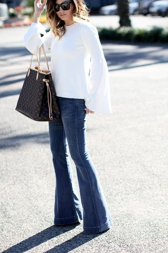 for all things lovely blogger top jeans shoes bag jewels sunglasses make-up louis vuitton louis vuitton bag flare jeans bell sleeves