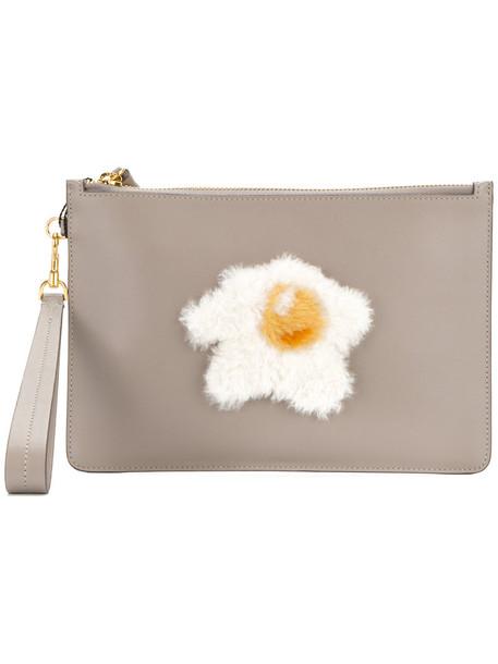 Anya Hindmarch zip women egg clutch grey bag