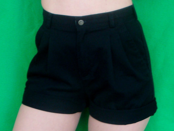 Black High Waisted Shorts Liz Claiborne Pleated by TaborsTreasures