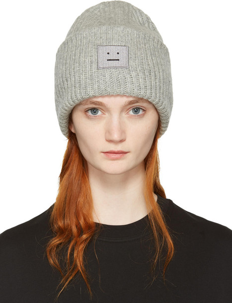 44f4e4bd3be60 Acne Studios Grey Pansy H Beanie - Wheretoget