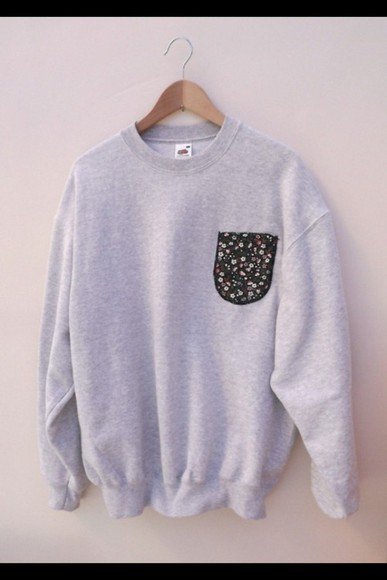 pocket sweater flowers grey sweatshirt